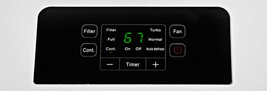Ivation IVALDH70PW 70 Pint Dehumidifier controls